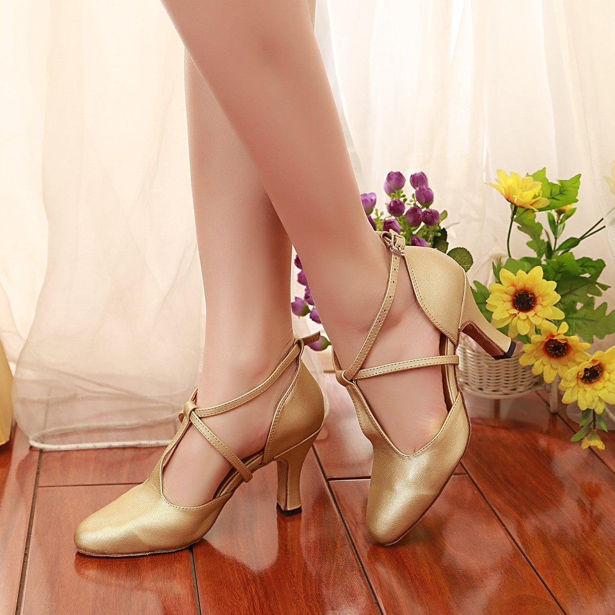 255da0e0d60a MINITOO Oro Gold-8cm Heel Da Sala Donna 35