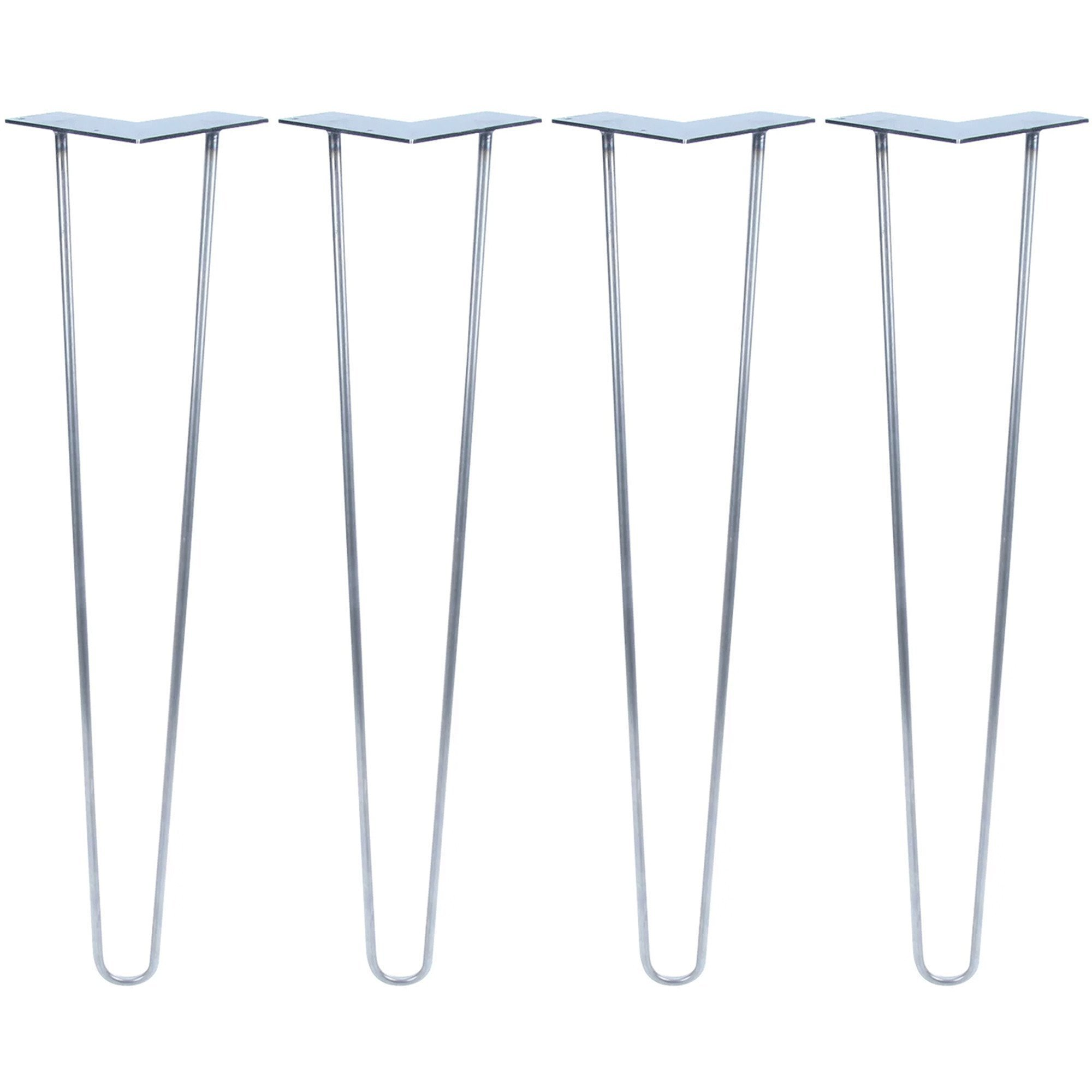 18 inch 2 Rod HD, Raw Steel Hairpin Legs Black 1/2'' Thick, Heavy Duty Set of 4 Legs, 4 Floor Protectors, 16 Screws - for Modern Coffee Table, Mid Century or Rustic Tables Legs