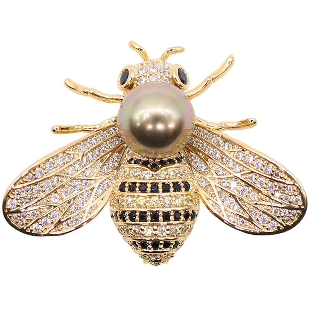 TiTi Woman Pendant/Brooch Bee Rhinestone Pearl Brooch Pins Elegant Fashion Gold Tone (Golden)