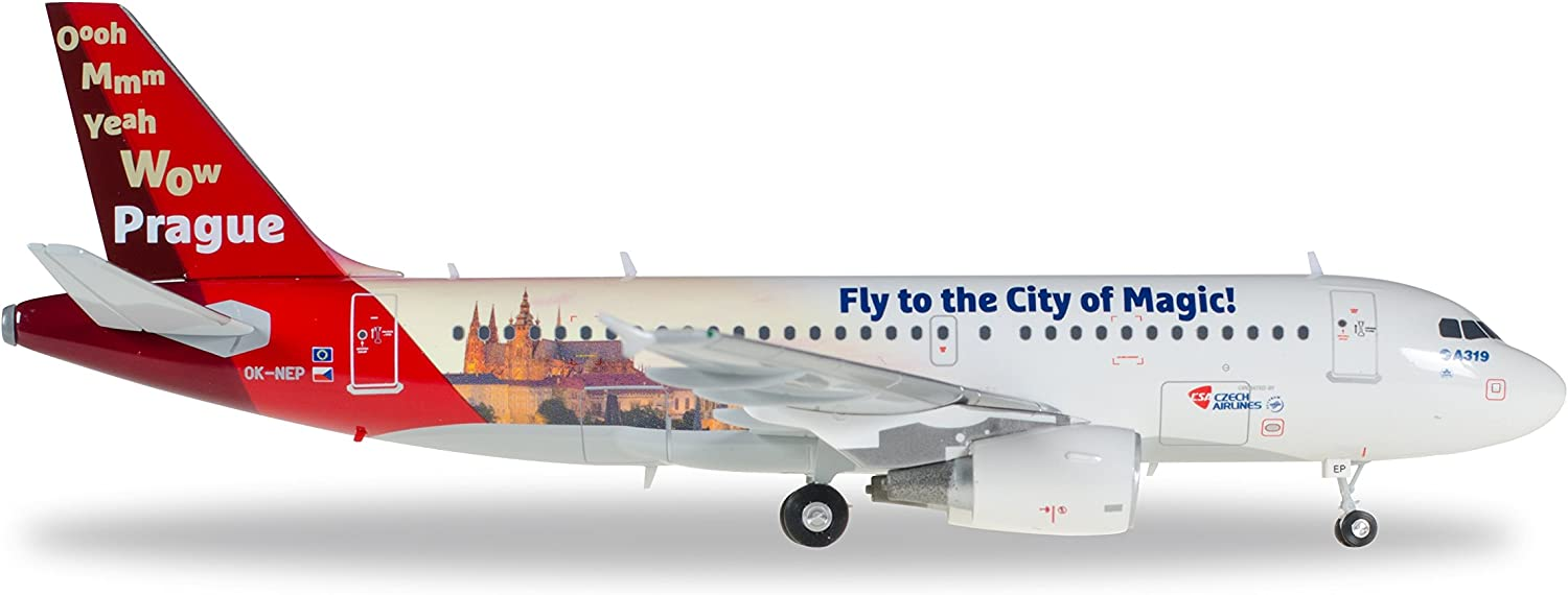 Amazon.com: Herpa 558075 – CSA Czech Airlines Airbus A319 Prague ...
