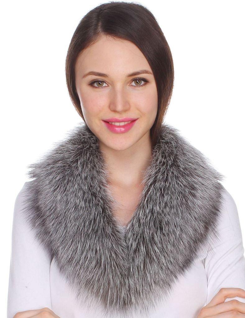 Ferand Ladies Women's Detachable Genuine Fox Fur Shawl Collar for Parka Leather Jacket Winter Coat Silver fox 30 inches
