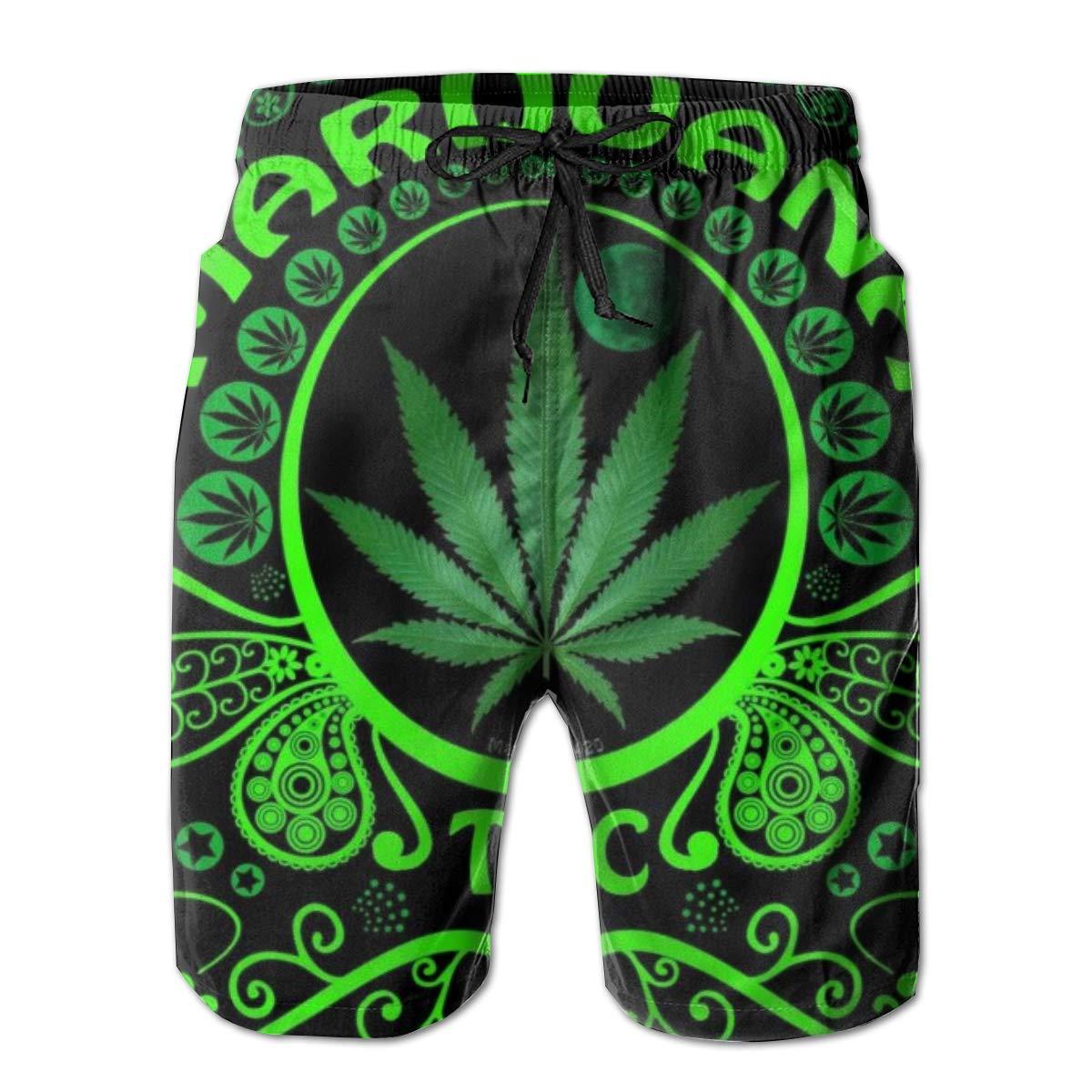 Mens Quick Dry Beach Shorts Swim Trunks Green Marijuana Leaf Flag Weed