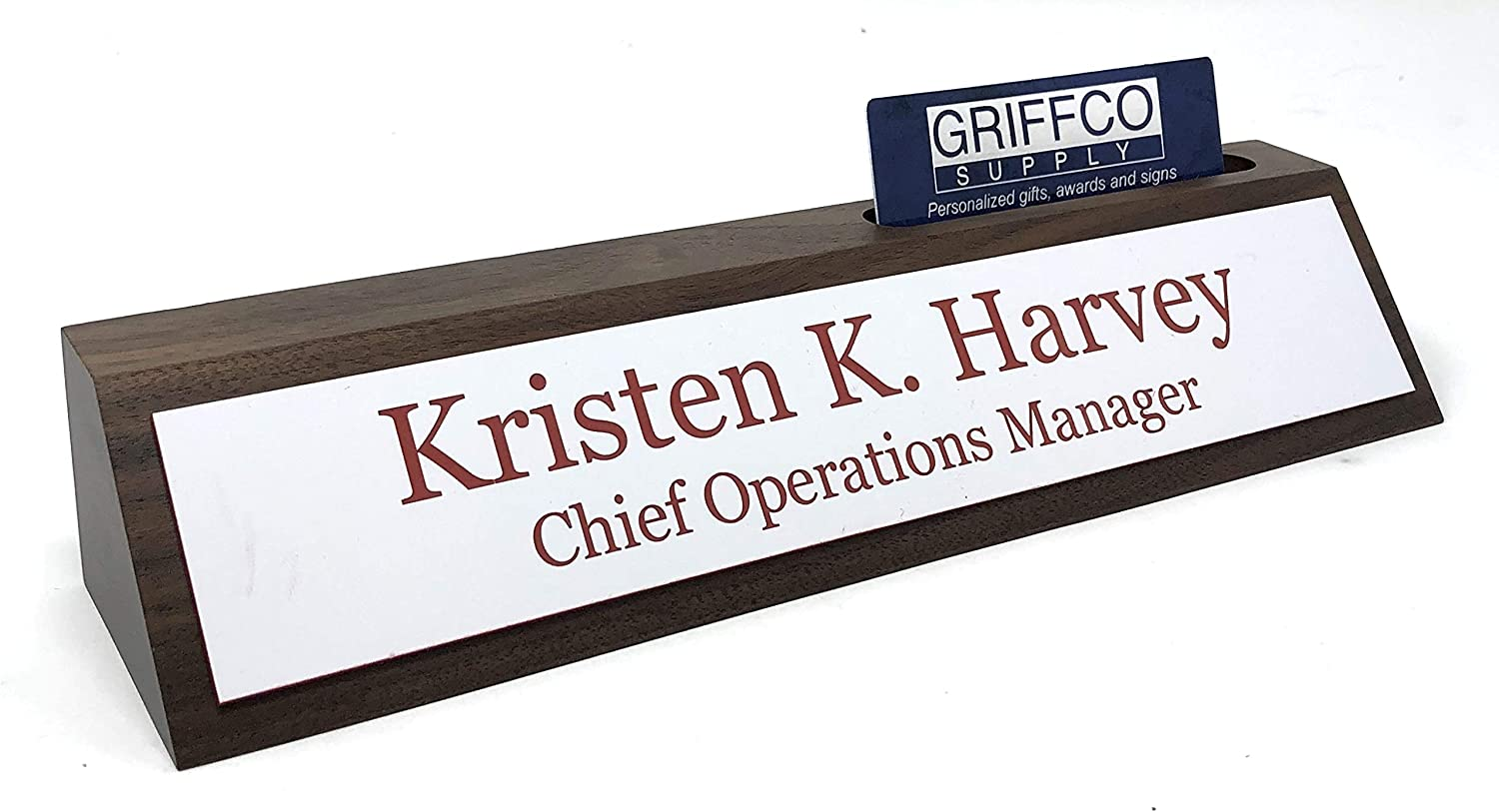 Red w/White Text Personalized 20 Walnut Business Desk Name Plate ...