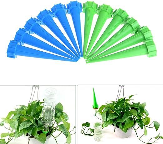 Jiamins Juego de 12 pinchos de riego para macetas de jardín, sistema de riego por goteo: Amazon.es: Jardín