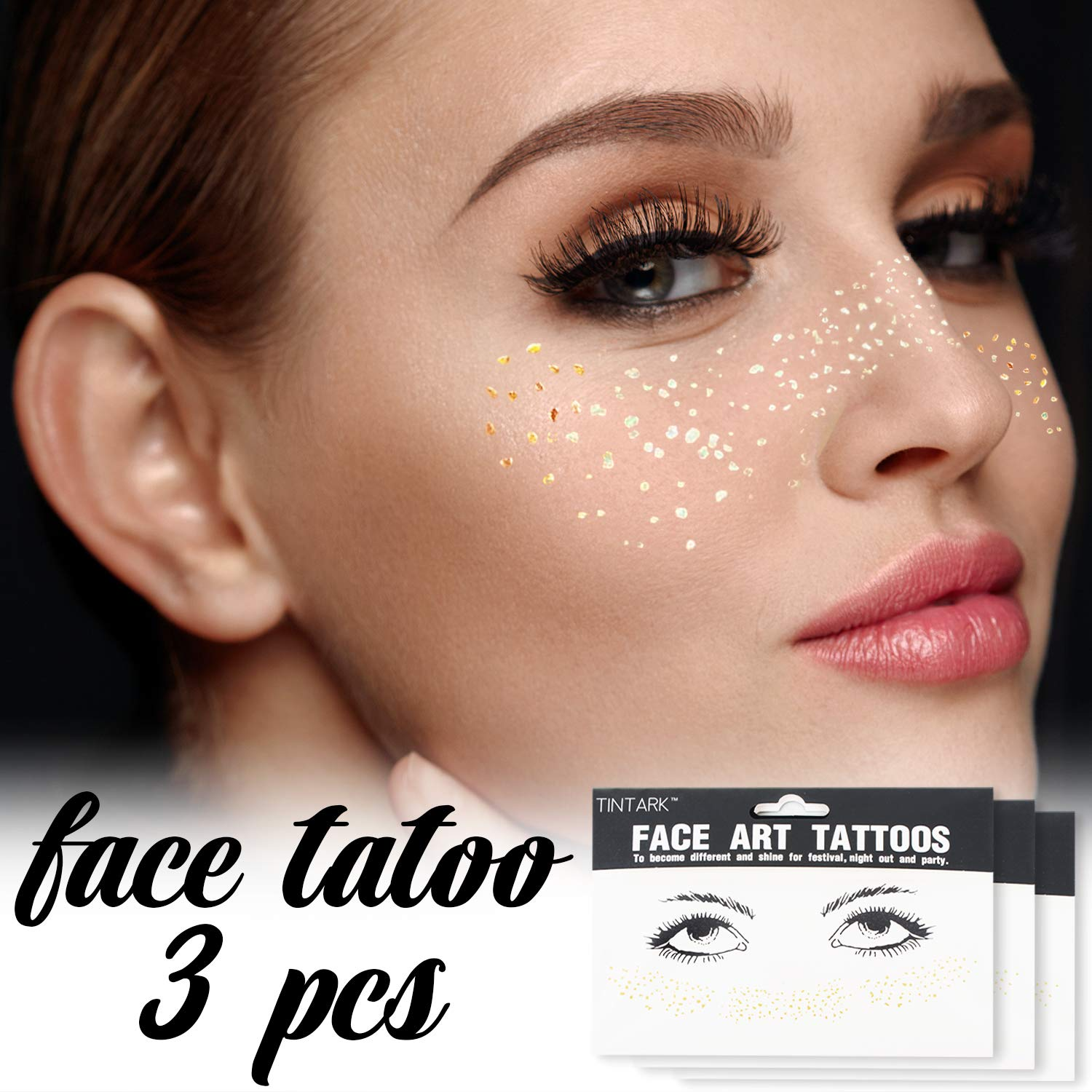 Hatcher lee 3Sheets Face Tattoo Sticker Metallic Shiny Temporary Water Transfer Tattoo for Professional Make Up Dancer Costume Parties, Shows Gold Glitter (3 Sheets-001)