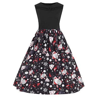 f0765adcf39 Sexy Femme Robe Vintage Noël - Vêtement Femme Dress Fête sans Manches Style Rétro  Hepburn Automne