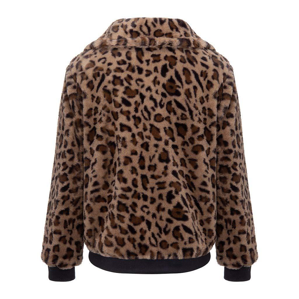Eoeth Womens Leopard Faux Fur Coat Fuzzy Zipper Warm Winter Oversized Outwear Jackets Cardigan Long Sleeve Overcoat Top