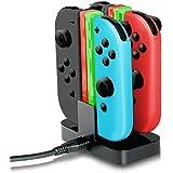 J-KONKY Nintendo Switch Joy-Con充電スタンド 指示ランプ 挿すだけ ジョイコン 4台同時に充電グリップ LEDインジケータ USBケーブル付き