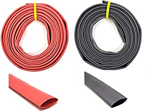 "WindyNation 1/2"" 10 Feet Black + 10 Feet Red 3:1 Dual Wall Adhesive Glue Lined Marine Grade Heat Shrink Tube Tubing"