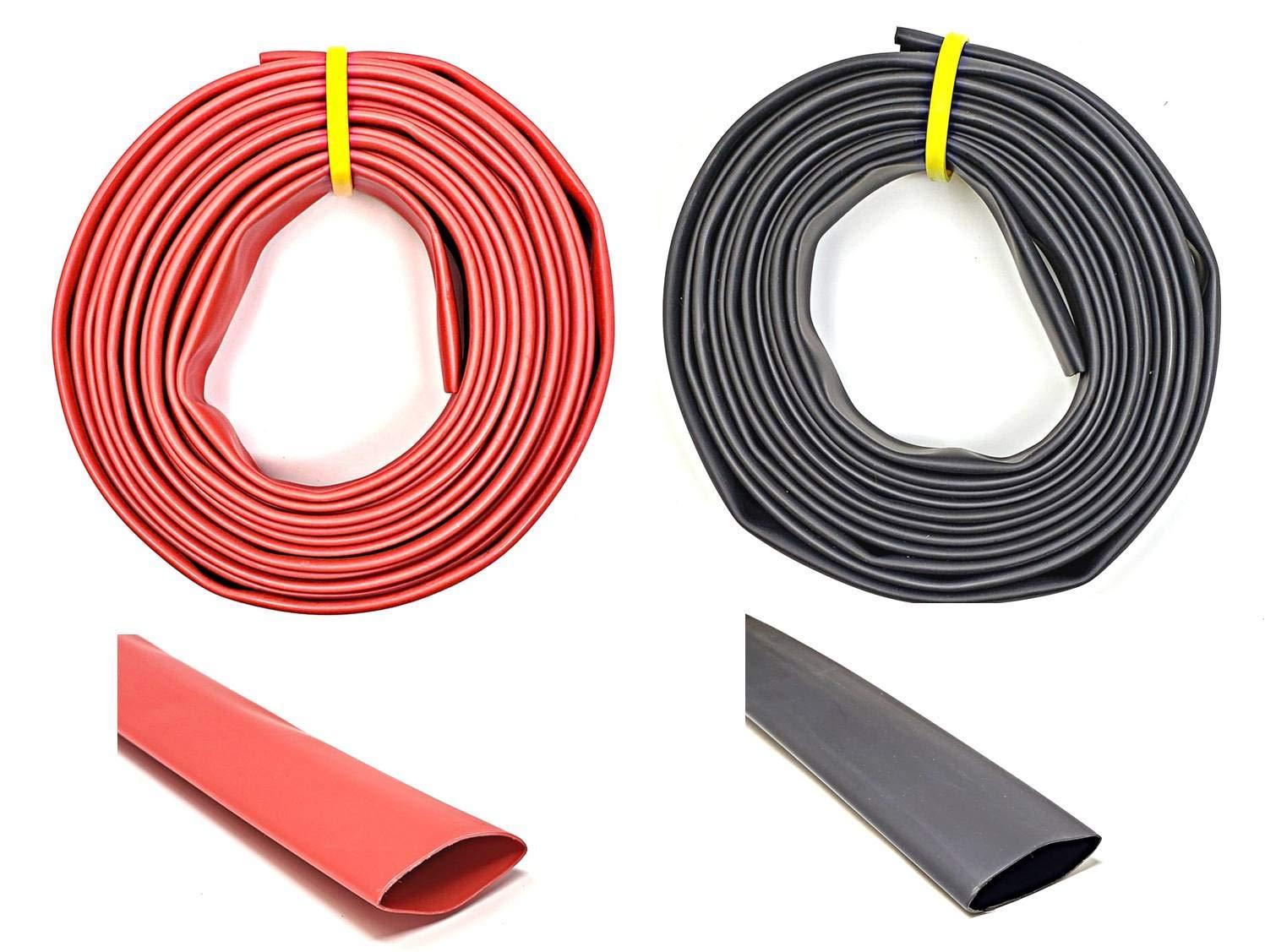 WindyNation 2'' ID 50 Feet Black + 50 Feet Red 2:1 Polyolefin Heat Shrink Tube Tubing