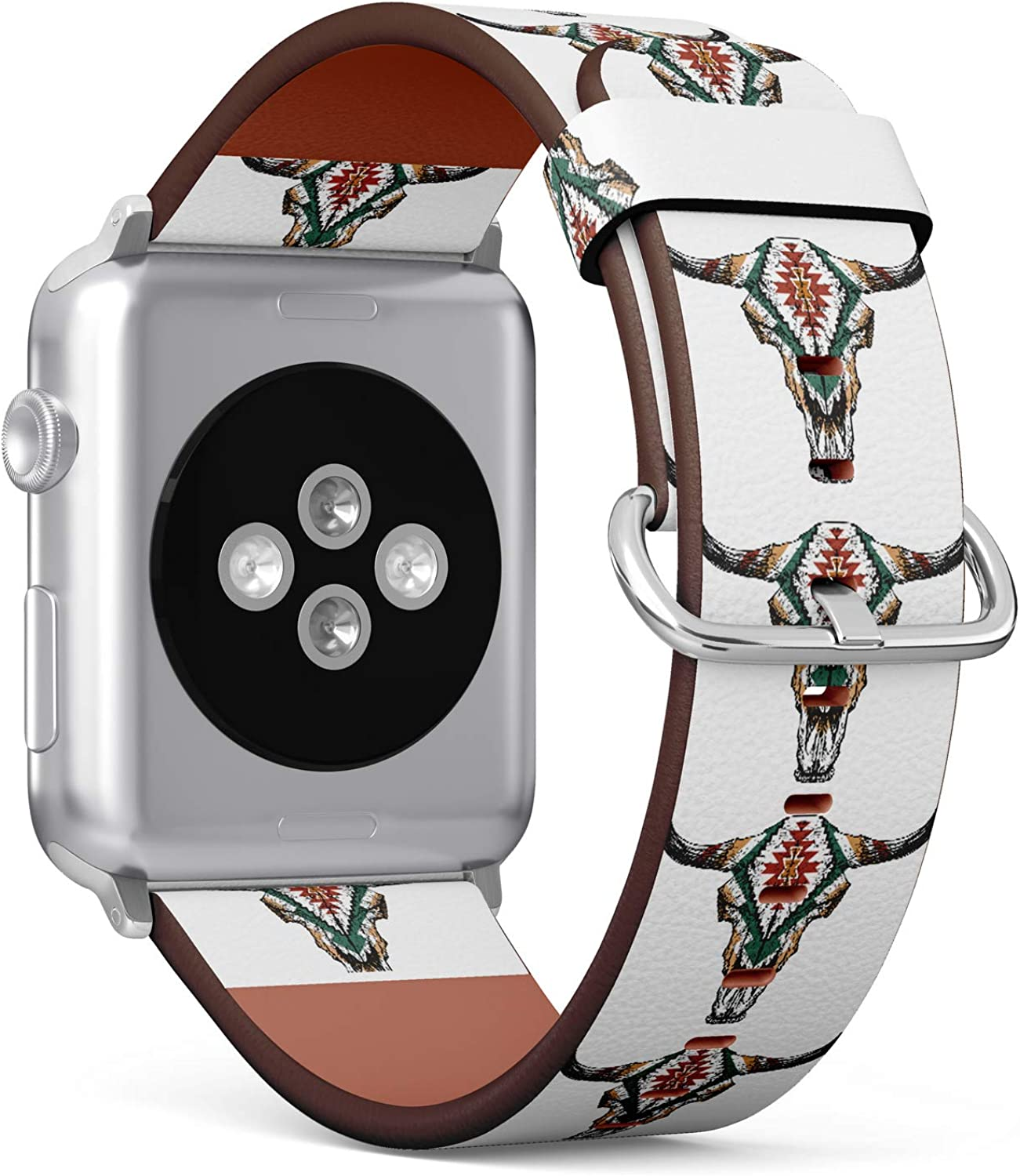 (Tribal Aztec Skull of Ram) Patterned Leather Wristband Strap for Apple Watch Series 4/3/2/1 gen,Replacement for iWatch 38mm / 40mm Bands
