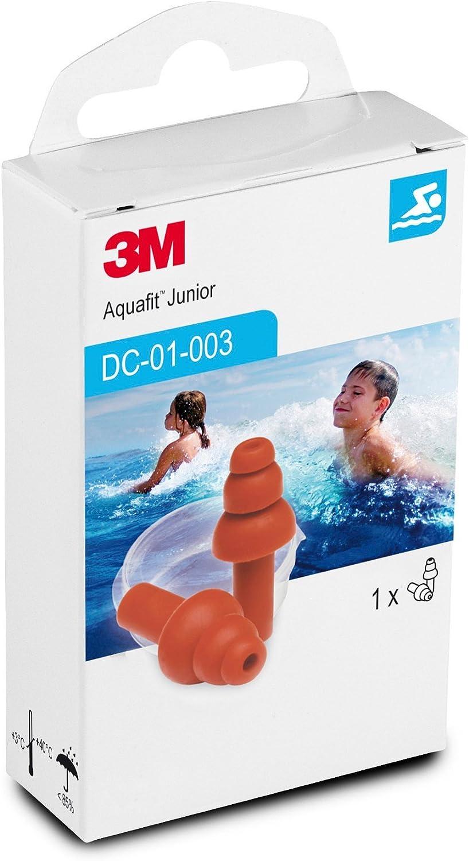 3M E-A-R AquaFit LG3 Junior Tapones para niños reutilizables especiales para la piscina, natación y deportes acuático