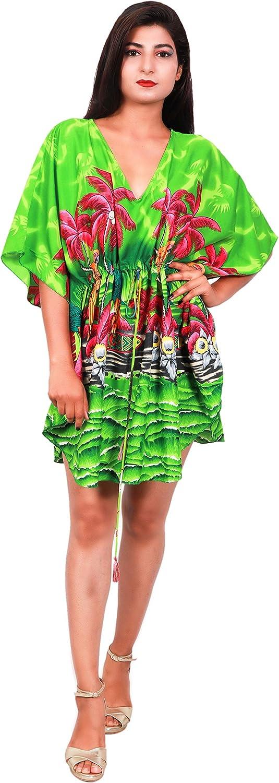 Virgin Crafts Womens Trim Kaftan Hawaiian Print Swimwear Beach Cover Green