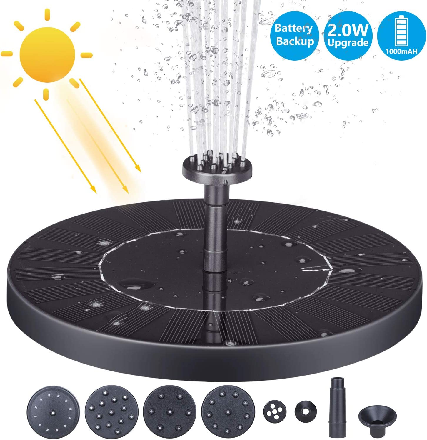 AISITIN 2.0W Solar Fountain Pump, 1000mAh Circle Solar Water Pump Floating Fountain Built-in Battery, with 6 Nozzles, for Bird Bath, Fish Tank, Pond or Garden Decoration pond heaters for outdoor ponds
