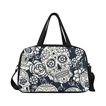 InterestPrint Day of the Dead Sugar Skull Duffel Bag Travel Tote Bag Handbag  Luggage 0fc94c45f13