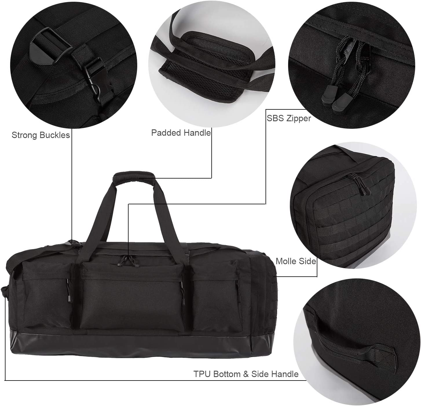 Tactical Molle Duffel Bag 80L with TPU Bottom for Travel Gym Sport