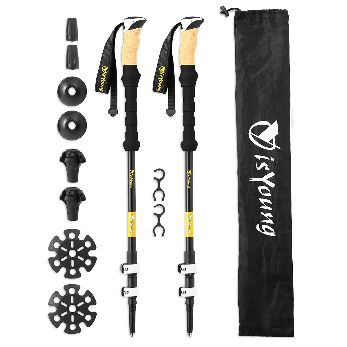 isYoung Hiking Trekking Poles 2-Pack Lightweight Aluminum Alpenstocks Mountaineering Anti Shock Trekking Poles with Accessories and Carrying Bag