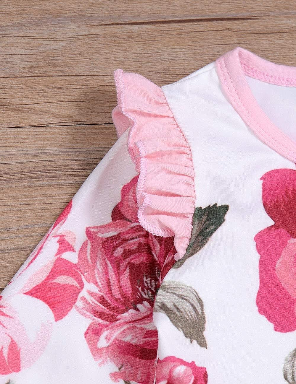 Floral Headband 2Pcs Outfit Set Newborn Baby Girls Romper Jumpsuit Flower Long Sleeves Bodysuit