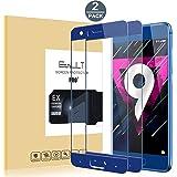 [2 Pack]Protector de Pantalla Huawei Honor 9 ,Cobertura Completa Protector de Pantalla de Vidrio/Cristal Templado para Honor 9(Transparente,Dureza de Grado 9H, Espesor 0,26 mm)-Azul