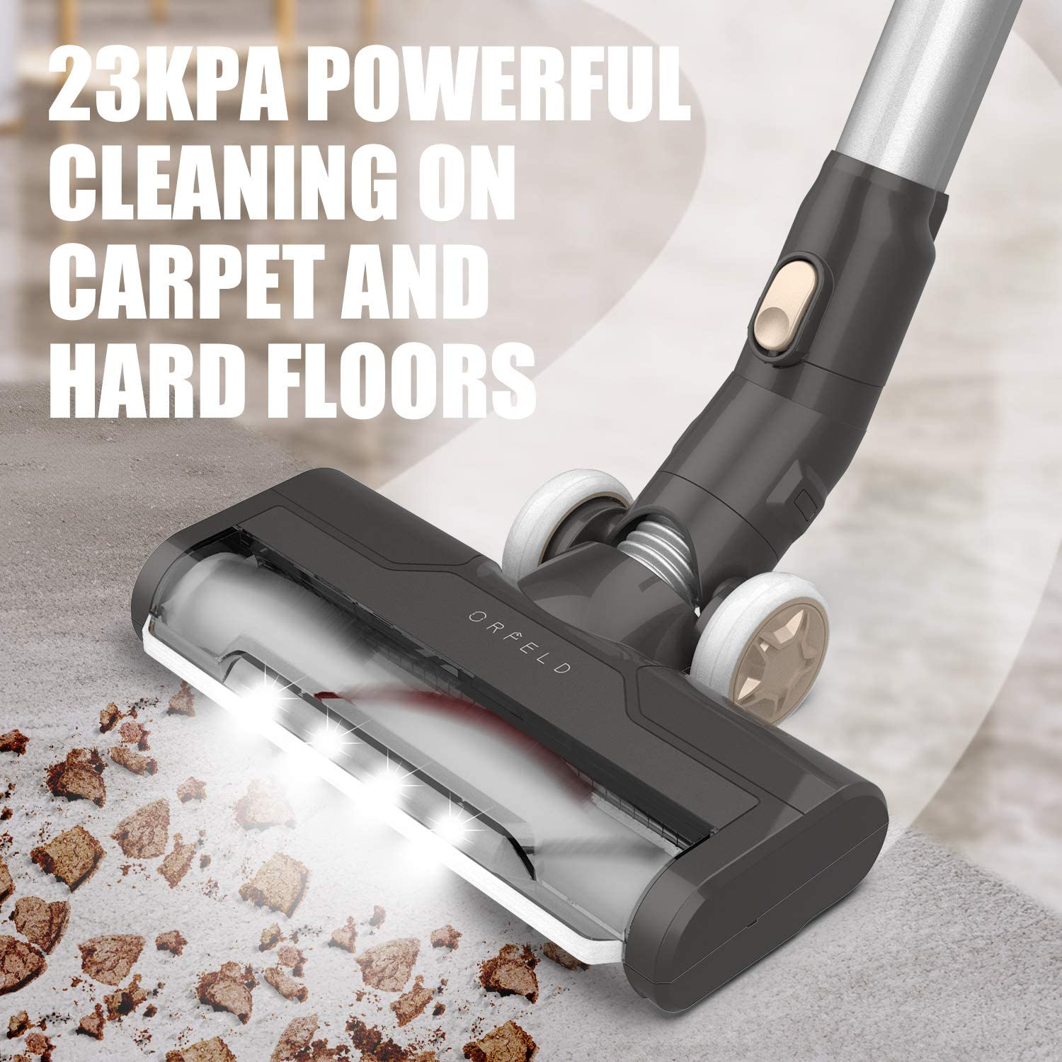 Lightweight 4 in 1 Handheld Vacuum for Deep Cleaning Hard Floor Carpet Car Pet 22000Pa Stick Vacuum with 200W Brushless Motor Up to 45 Mins Runtime ORFELD Cordless Vacuum