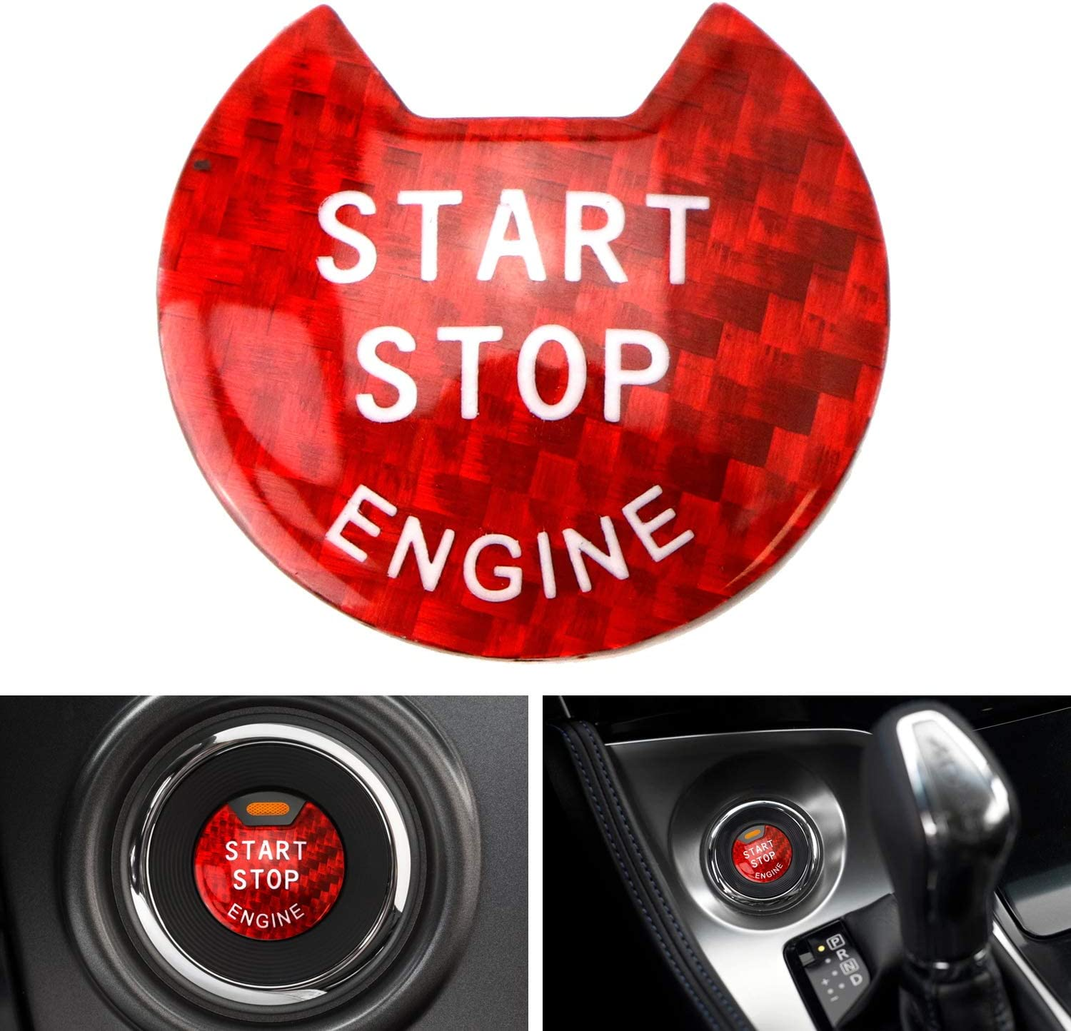 iJDMTOY 1 Gloss Red Real Carbon Fiber Keyless Engine Start//Stop Push Start Button Cover Compatible With Nissan Altima Maxima Pathfinder Titan Murano Infiniti Q50 Q60 QX60.