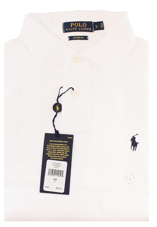 12161b44 Ralph Lauren Men's Custom Fit Long Sleeve Polo Shirt Size XXL White at  Amazon Men's Clothing store: