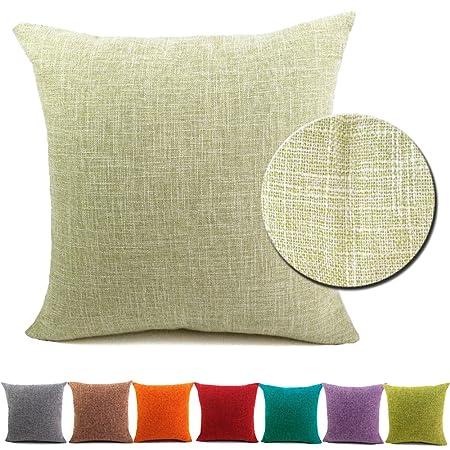 Bigu Cushion Covers Plain Cotton Linen Solid Square Pillow Covers