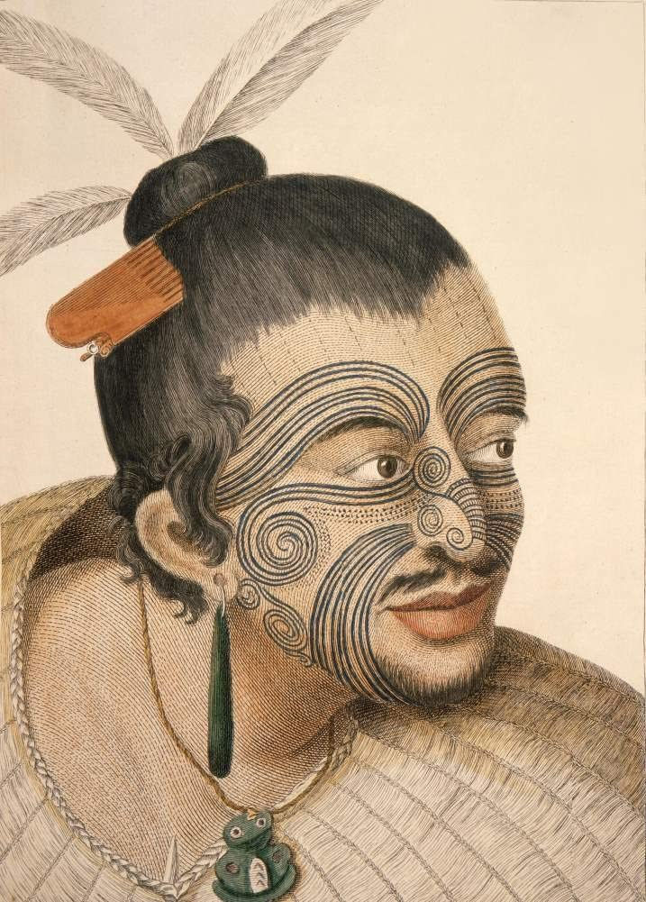 Vintage Tattoo Body Art A Maori Chief 1770 250gsm Gloss Art Card A3 Reproduction Poster Amazon Co Uk Kitchen Home