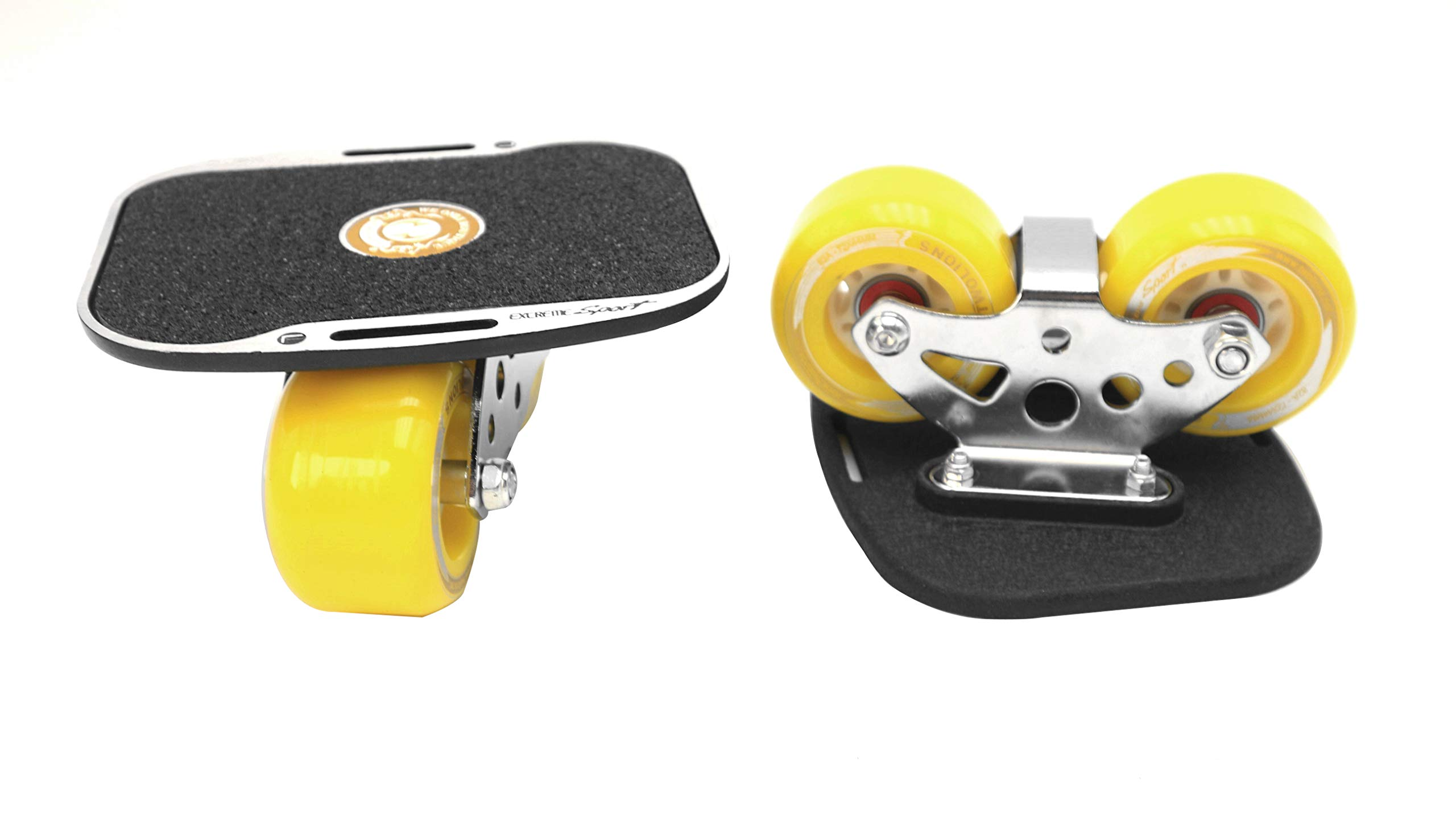 Roller Road Drift Skates Plate Pro Skates Anti-Slip Board Portable Split Skateboard All-in-one Aluminum Alloy with PU Wheels(Yellow) by Smartuan (Image #4)