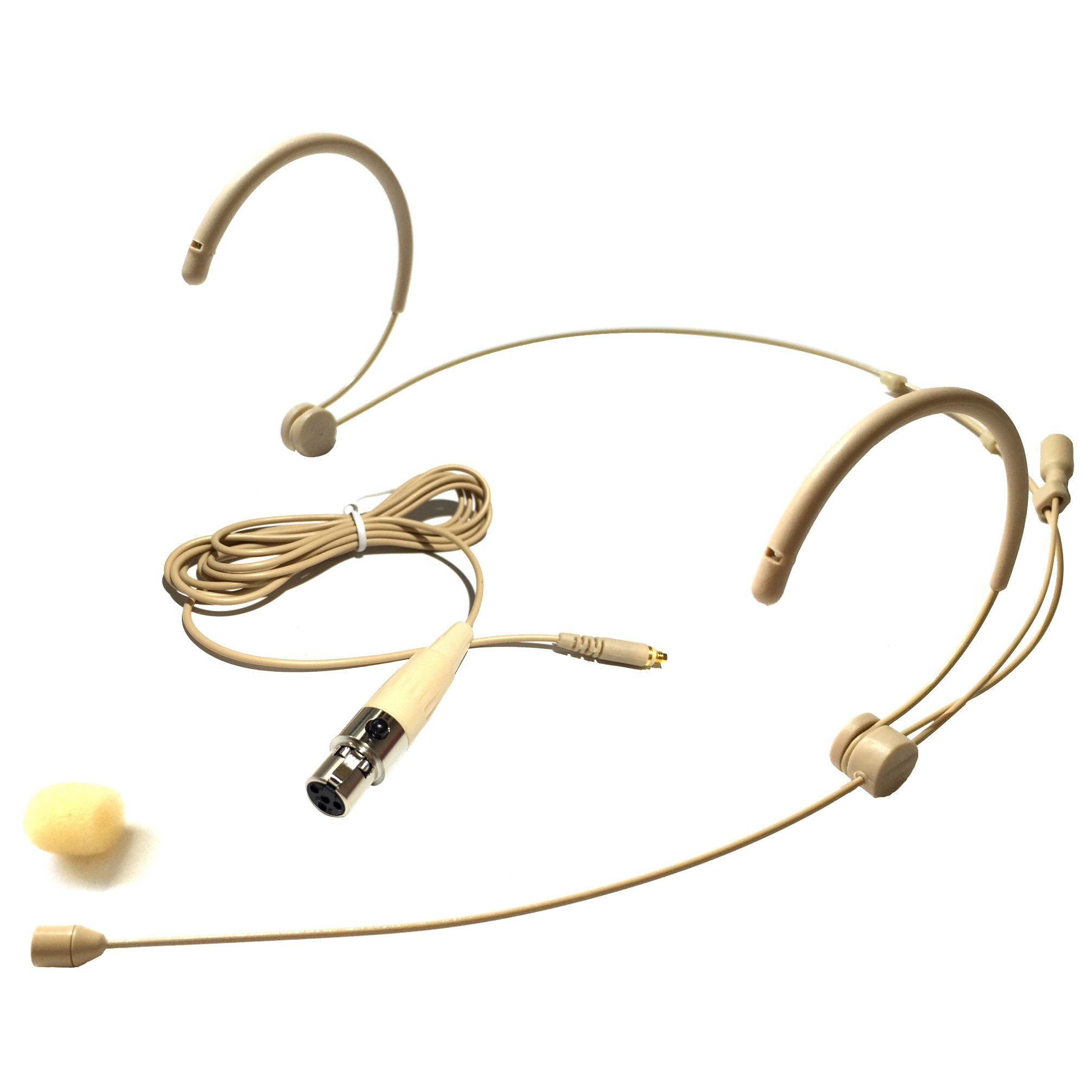 Microdot 4016 Headset Headworn Microphone For SHURE Wireless System - Detachable Cable With Mini XLR Ta4f Connector - Omidirectional Mic by MicroDot