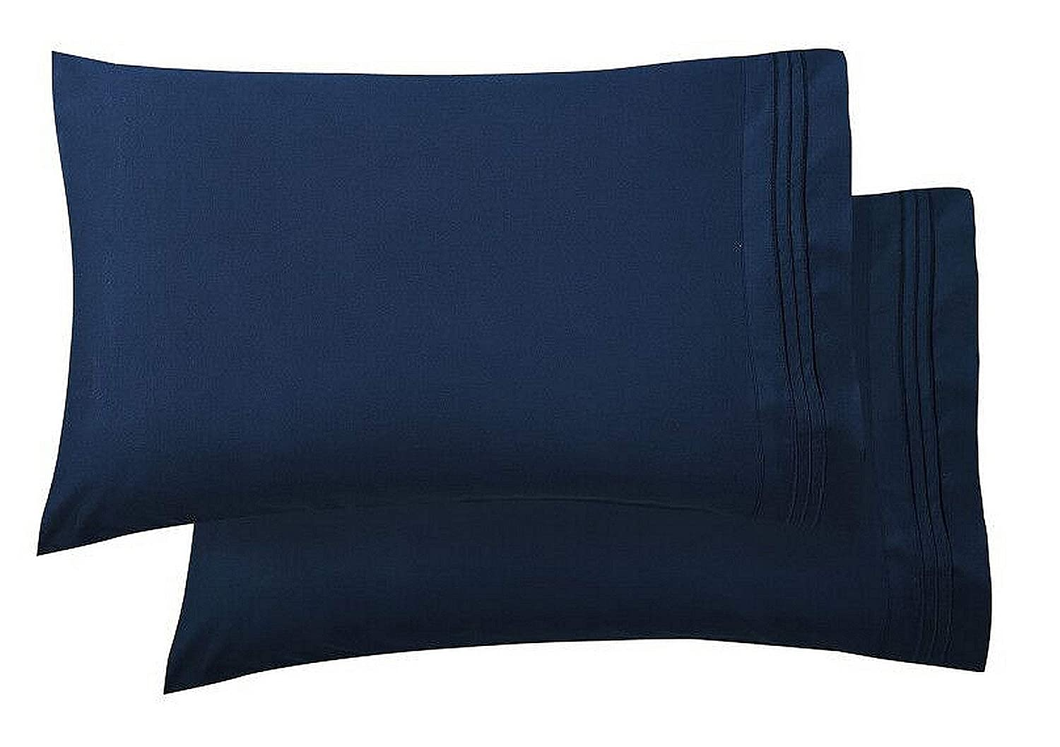 Elegant Comfort Luxury Ultra-Soft 2-Piece Pillowcase Set 1500 Thread Count Egyptian Quality Microfiber Double Brushed-100% Hypoallergenic-Wrinkle Resistant, Standard/Queen Size, Navy Blue