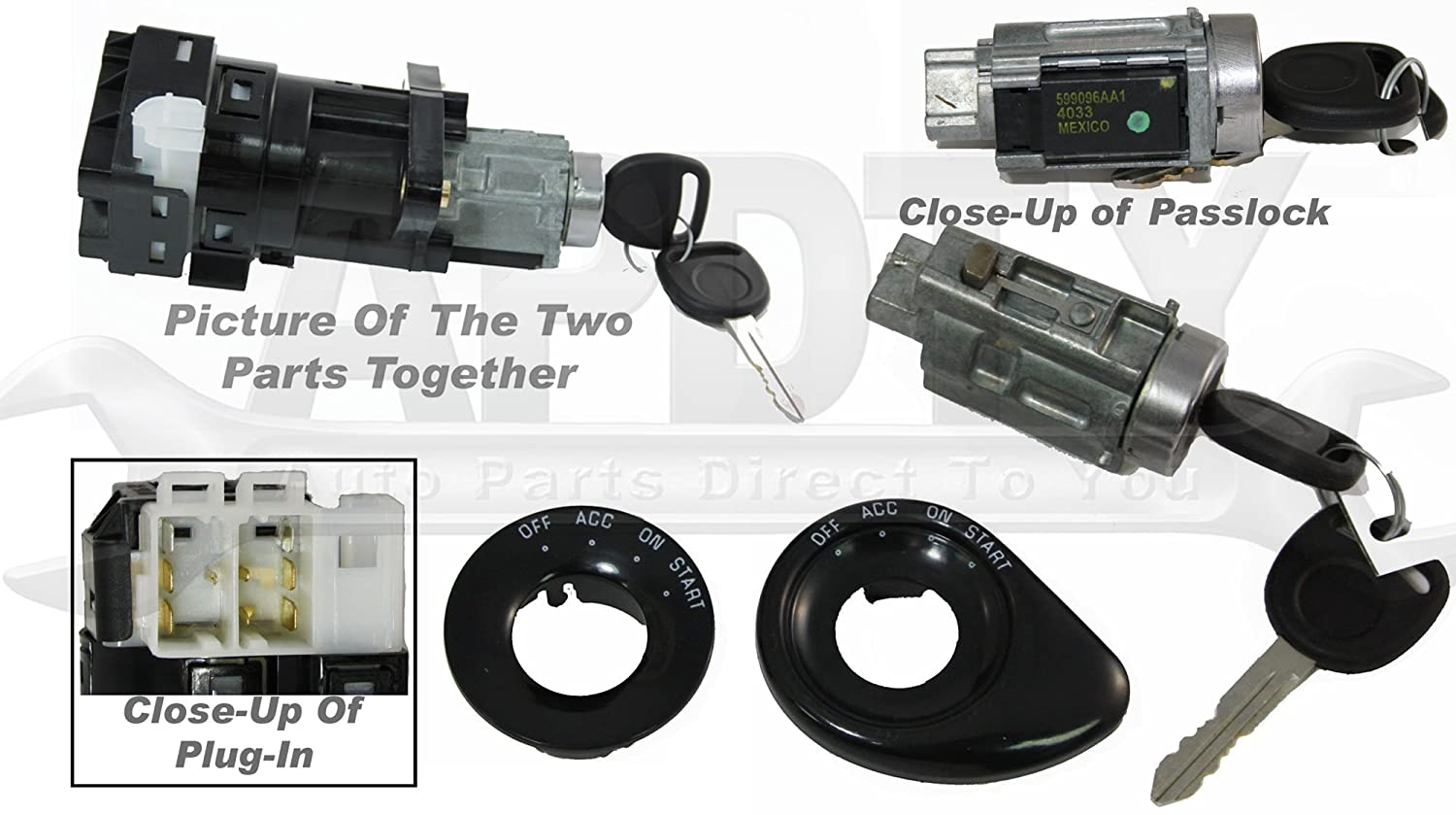 Amazon apdty 035812 035813 ignition lock cylinder starter amazon apdty 035812 035813 ignition lock cylinder starter switch housing combo kit includes 2 new cut keys fixes security light passlock problem aloadofball Gallery
