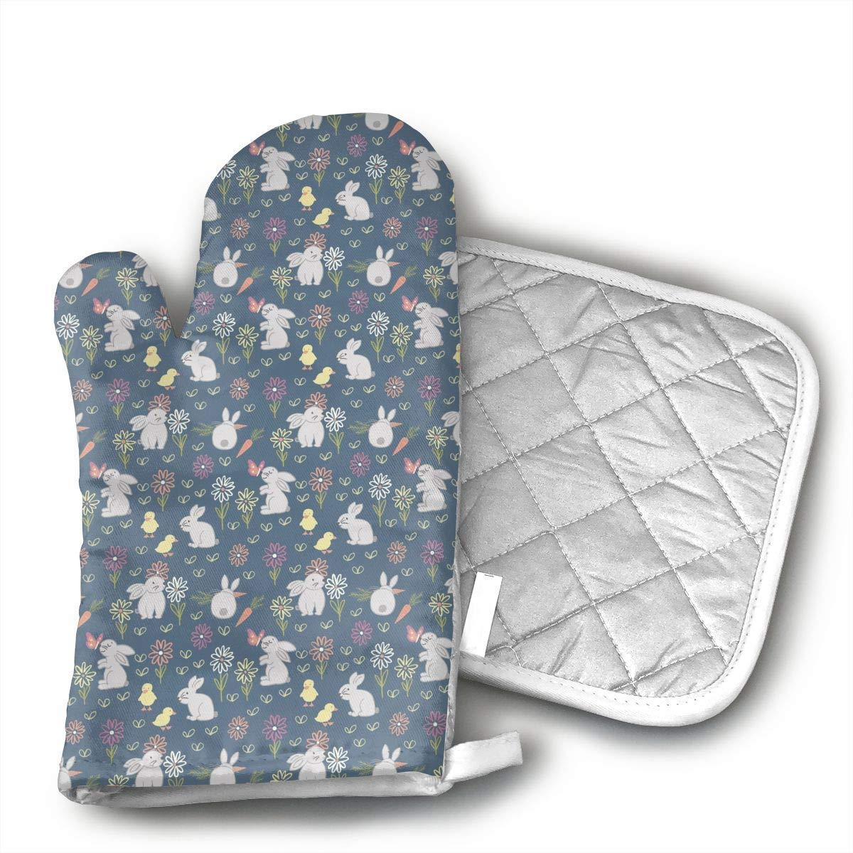 Bunny Garden Oven Mitts and Pot Holders Set with Polyester Cotton Non-Slip Grip Heat Resistant Oven Gloves for BBQ Cooking Baking Grilling