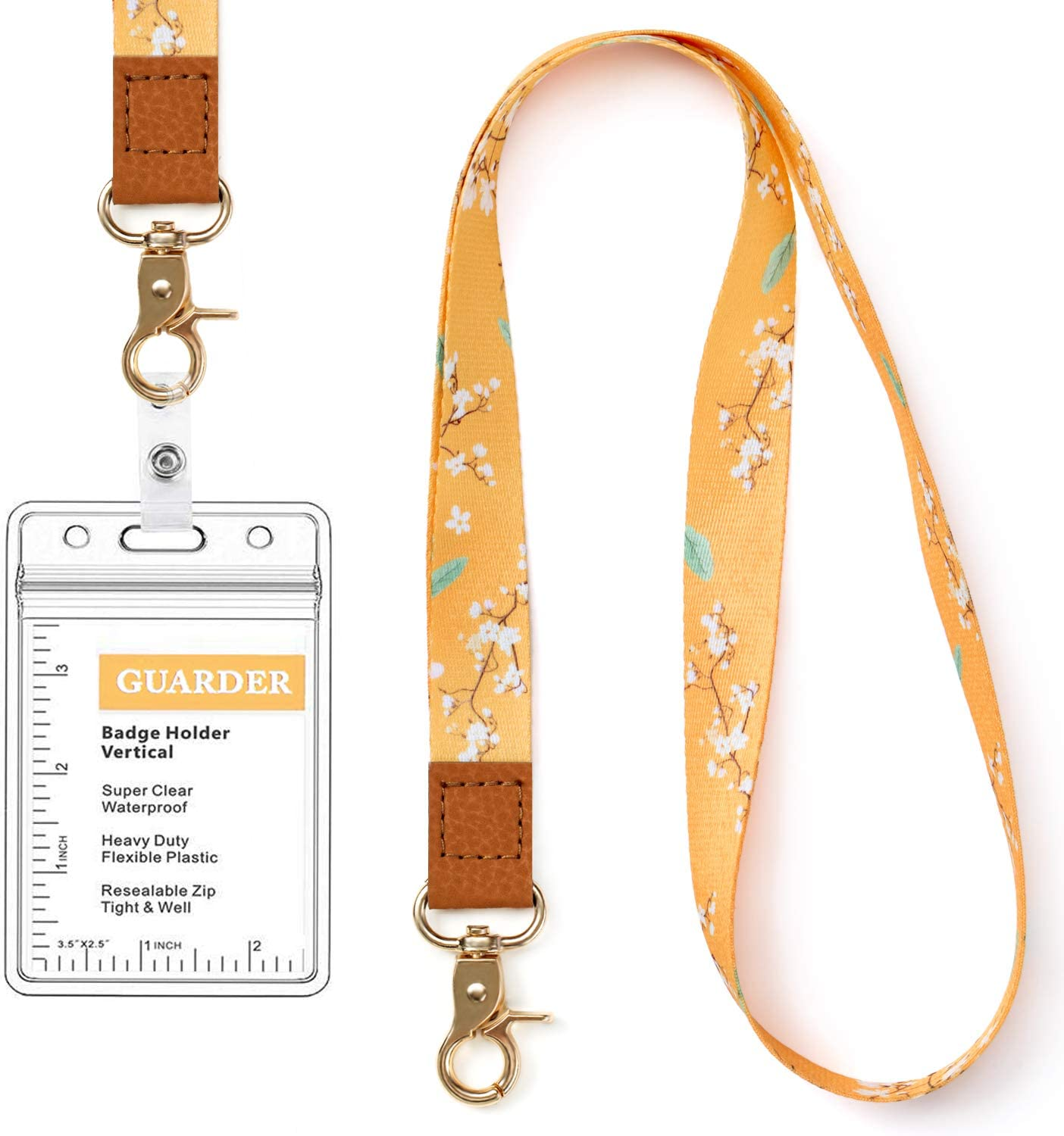 Lot 5 NECK STRAP LANYARD ROUND CLEAR ID BADGE HOLDER