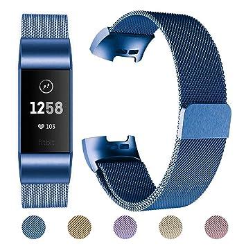 Für Fitbit Charge 3 Band Milanese Strap Edelstahlband Magnet Armbänder Schwarz
