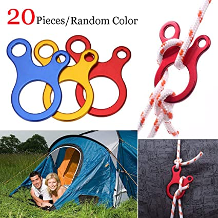 Guyline Rope Adjuster 20pcs Aluminum Alloy Tent Wind Rope Tensioners Buckle Outdoor Guyline Cord Fastener for Camping Hiking Backpacking
