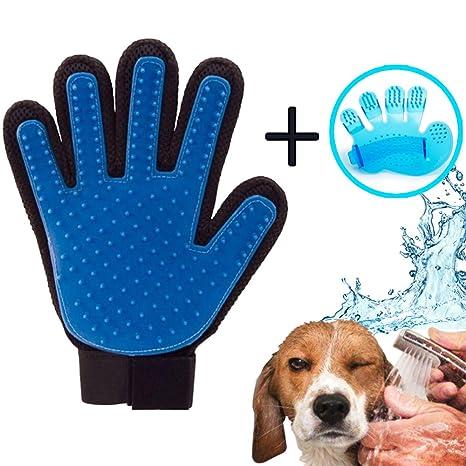 iZoeL Guantes Manopla Masaje para mascotas perros gatos, Retiro del pelo y Aparato de masaje - Masaje de mascotas y Baño de cepillo y Peine