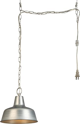 Design House 579409 Mason Industrial Modern 1 Indoor Hanging Swag 10 Light with Metal Shade for Living Dining Room Bar Area, Galvanized Finish, 10.5
