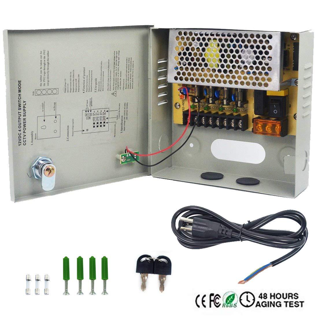 Amazon.com: LETOUR DC Power Supply 4 Channel Port Output 12V 45W ...