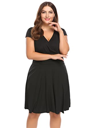 Guteer Womens Plus Size Club Dress Sexy V Neck Cocktail Party Swing