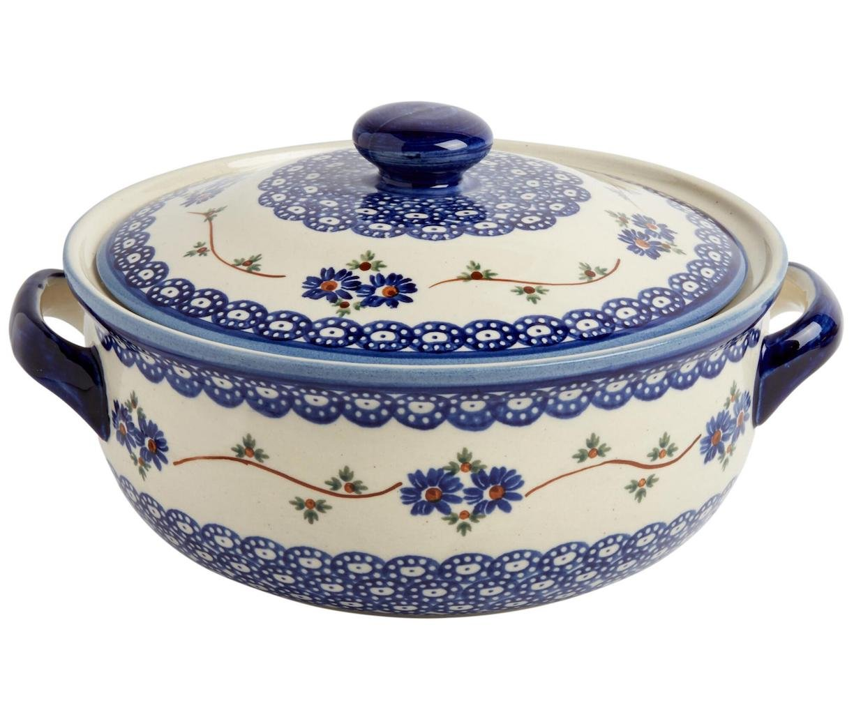 "Polish Pottery Blue Floral Chain Round Covered Serving Dish, 10""L x 8.5""W x 5.75""H w/ 60-oz Capacity Boleslawiec Polish Pottery"