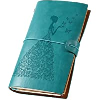Leather Journal Vintage Refillable Travelers Notebook with Line Paper+ 1 PVC Zipper Pocket +18 Card Holder for Women 4.7 X 7.9in (Blue)