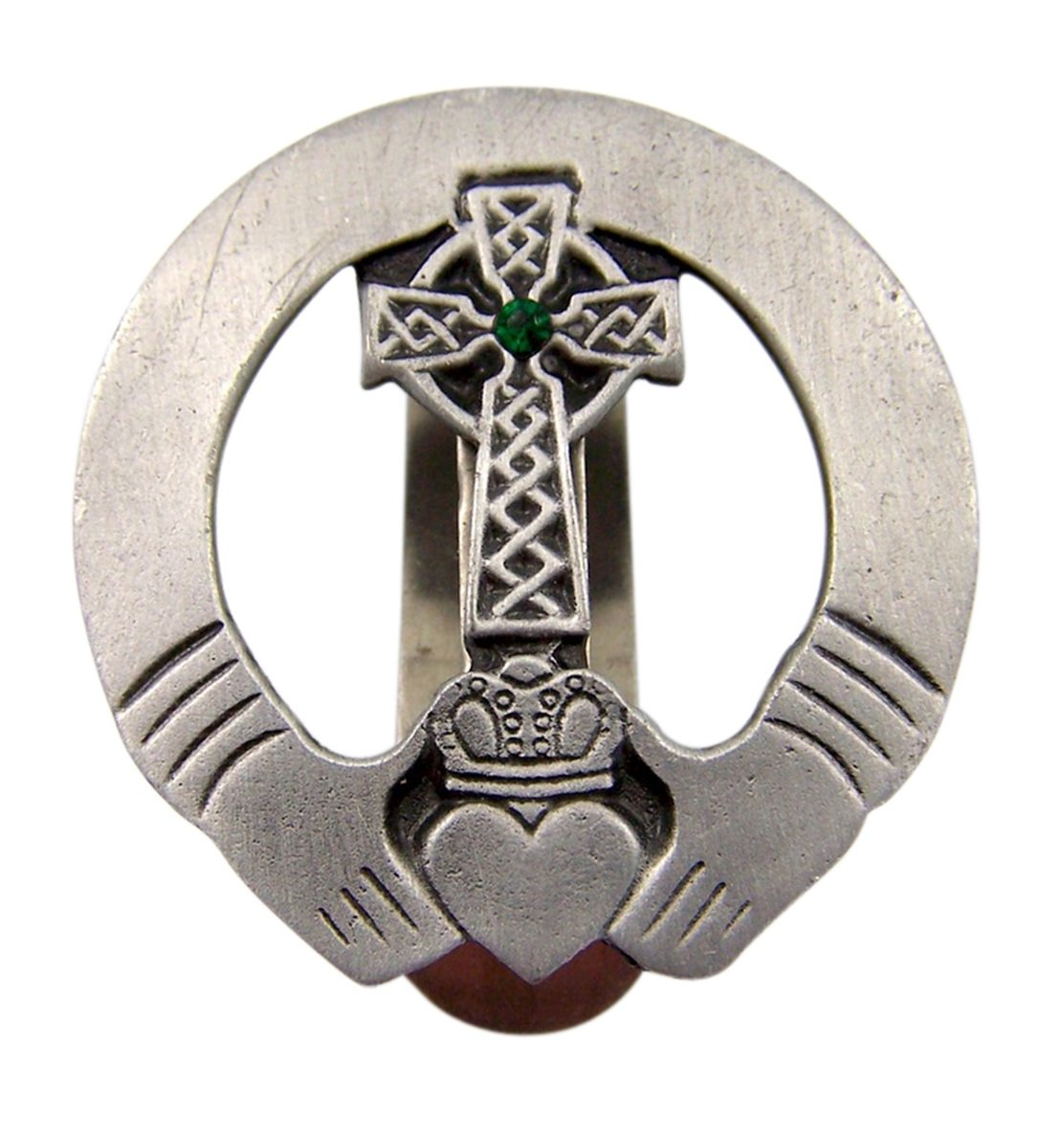 1 7//8 Inch Fine Pewter Irish Claddagh Celtic Cross Auto Visor Clip with Green Accent