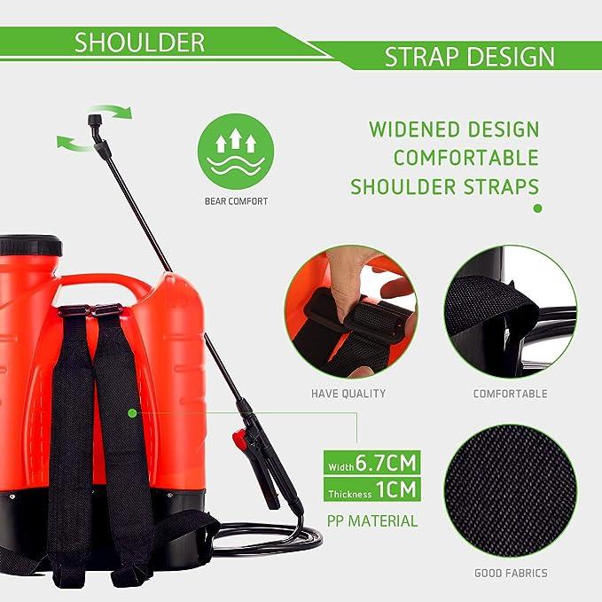 Orange VIVOSUN 4 Gallon Battery Powered Backpack Sprayer Electric Pump Sprayer with Four Nozzles for Garden Lawn