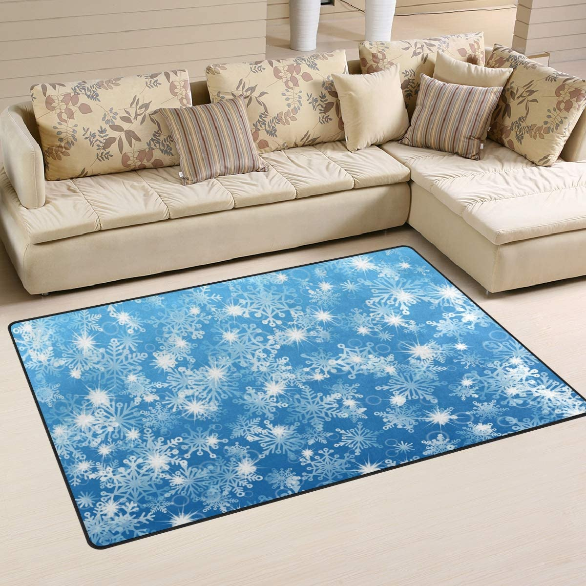Zzaeo Christmas Winter Blue White Snowflakes Area Rug Polyester Soft Carpet Non Skid Floor Mat Rugs For Living Room Dorm Girls Bedroom Home Decor 60 X 39 Inch Home Kitchen