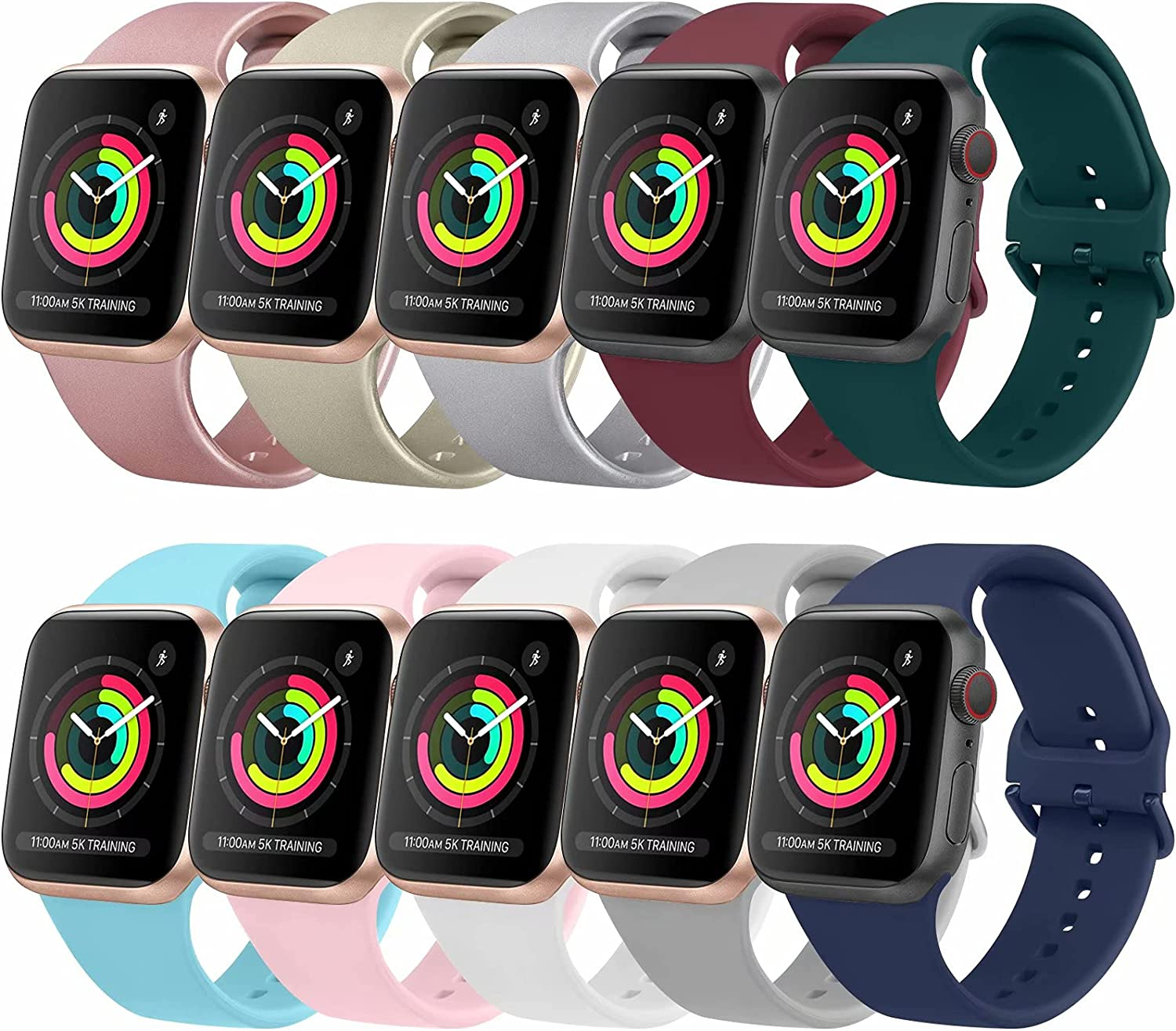 [10 Pack] Bands Compatible with Apple Watch Bands 44mm 42mm iWatch Series 6 5 4 3 2 1 & SE for Women Men, Soft Silicone Replacement Wristbands with Adjustable Buckle (10 Pack A, Large)