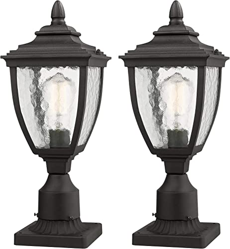 Beionxii Outdoor Post Lanterns Set of 2 Exterior Post Light Fixture with 3-Inch Pier Mount Base, Sand Textured Black Die-cast Aluminum with Water Glass 7 W x 18.5 H – A162P-2PK