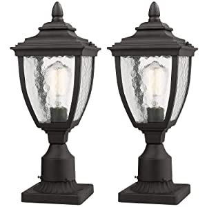 "Beionxii Outdoor Post Lantern, 2-Pack Beionxii Exterior Post Light Fixtures with 3-Inch Pier Mount Base, Black Finish with Water Ripple Glass (6.9""W x 16.9""H) - A162 Series"