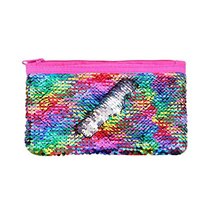 408351271cb6 Cute Kids Pencil Case Glitter Reversible Sequin Pen Pencil Pouch for Girls  Cosmetic Makeup Organizer Bag Purse for Women (Rainbow)