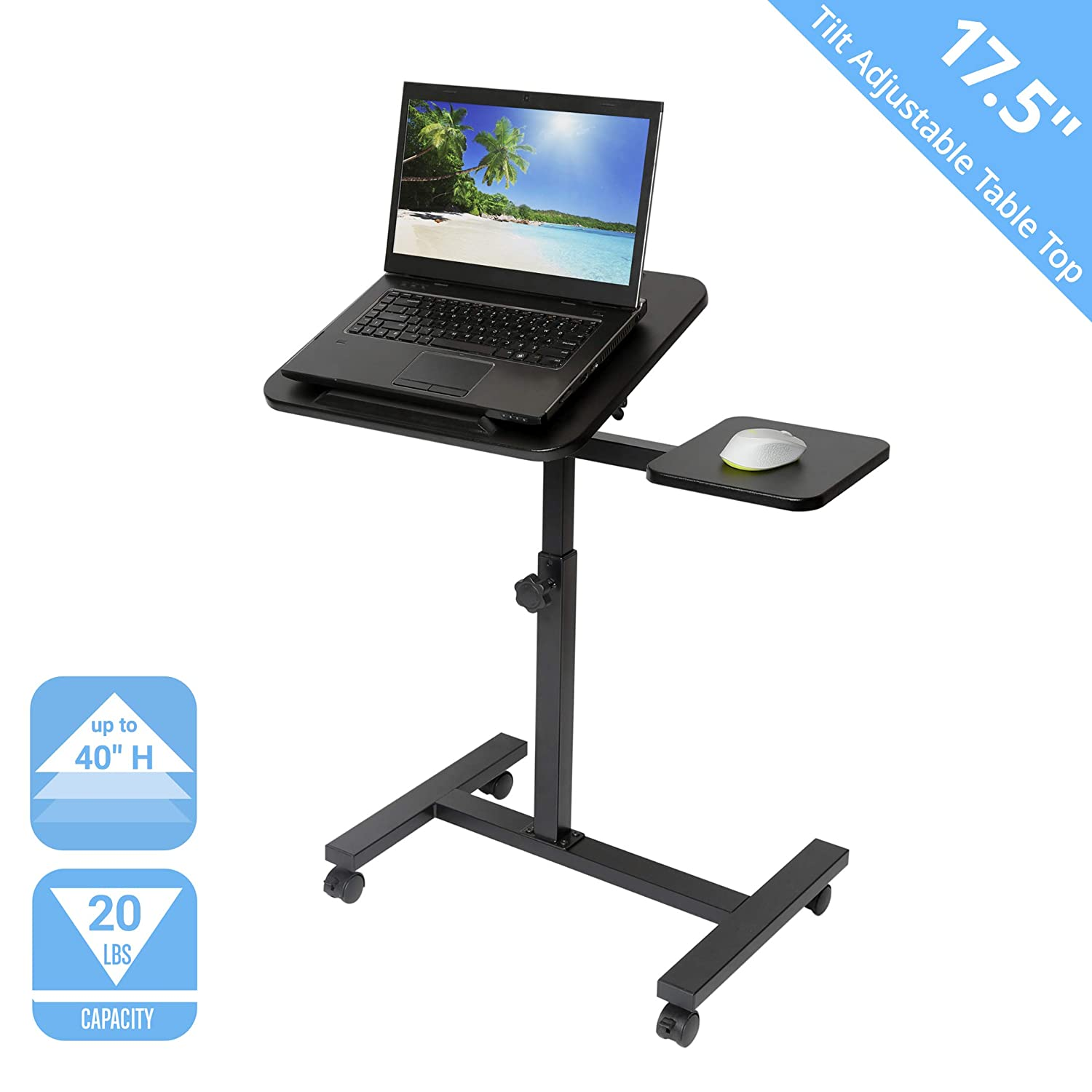 Seville Classics OFF65902 Tilting Sit-Stand Computer Desk Cart with Mouse Pad Table, Black